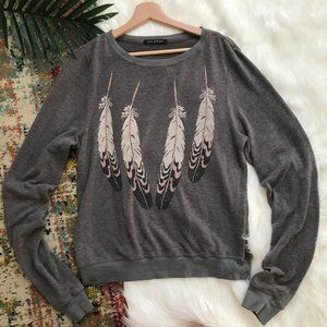 Wildfox • Feather Long Sleeve Sweater
